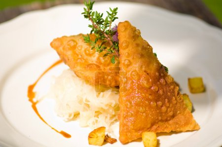 Typical Austrian meal, Fleischkrapfen with  pickled cabbage and