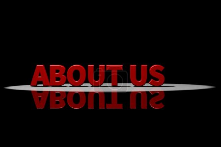Text about us, red text, 3D Rendering with reflection