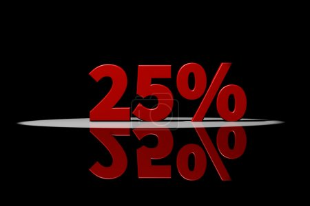 25 percent, red text, 3D Rendering with reflection