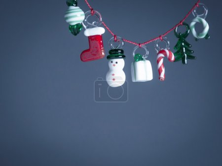 Christmas decorations of glass, copy space