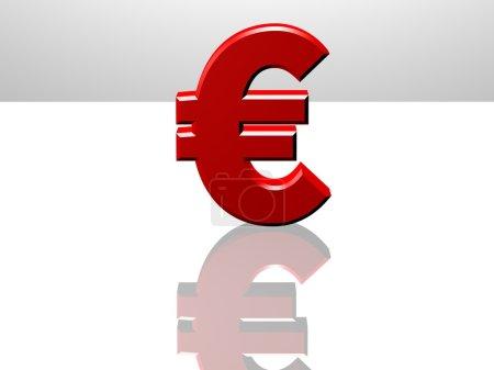 Photo pour Euro monnaie signe. Rendu CGI 3D sur une surface réfléchissante blanche . - image libre de droit