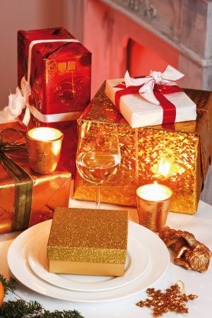 Christmas presents on table, elevated view