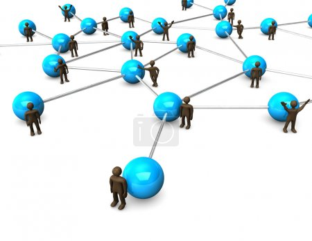 Brown figurines, blue network
