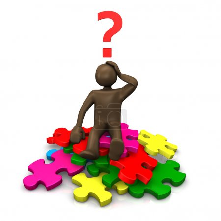 Brown figurine sitting on pieces of puzzle, asking