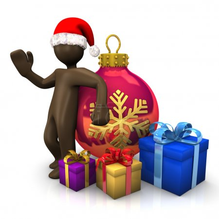 3D Illustration, Brown figurine with christmas hat, bauble and p