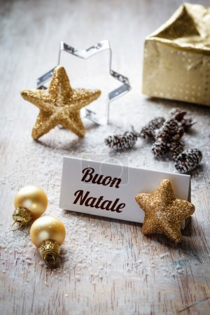 Christmas time, Still life with italian wishes, sign, on wood
