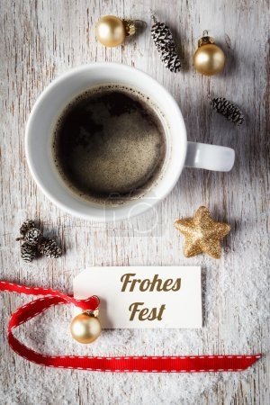 Christmas time, festive still life, cup of coffee, Frohes Fest,