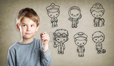 Foto de Chico, aspiración profesional, pequeñas figuras - Imagen libre de derechos