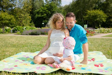 Happy couple expecting baby, sitting on blanket in park