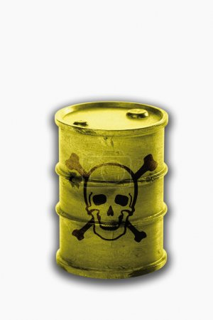 Barrel with signs of skull and crossbones on white background
