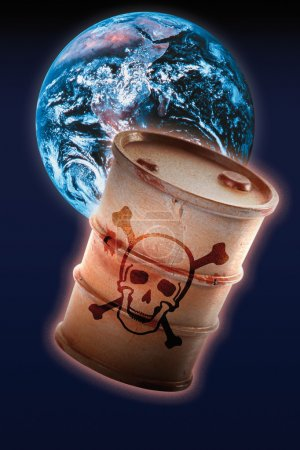 Barrel with signs of skull and crossbones in front of earth