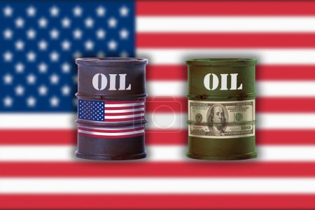 Two oil drums with sign of dollar note and union flag of America