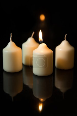 Four white candles, advent