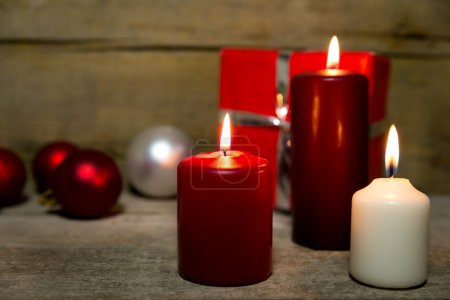 Christmas decoration, candles, baubles, present