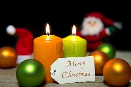 Christmas candles, baubles, card, Merry Christmas
