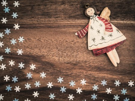 Christmas, paper snowflakes, angel, background wood, copy space