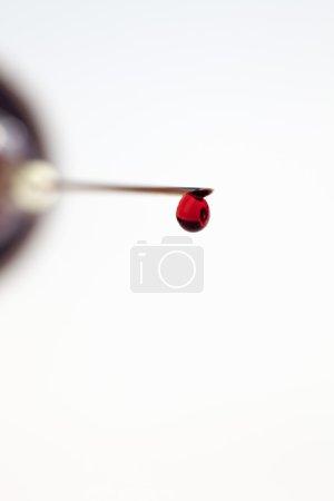 Syringe filled with blood sample drop
