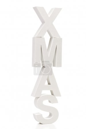 Photo for Capital letters forming the word xmas on white background - Royalty Free Image