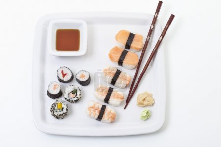 Maki sushi in plate, elevated view