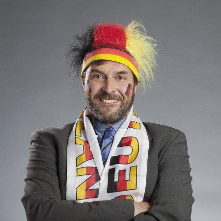 Businessman as german soccer fan