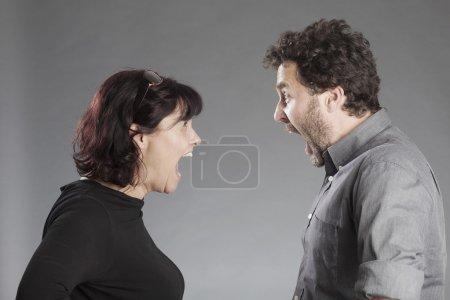 Mature couple quarreling