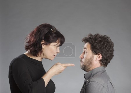 Mature couple quarreling