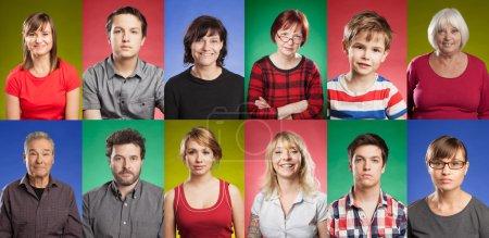 Foto de Serie de doce personas, desde niños hasta personas mayores, fondos de color - Imagen libre de derechos