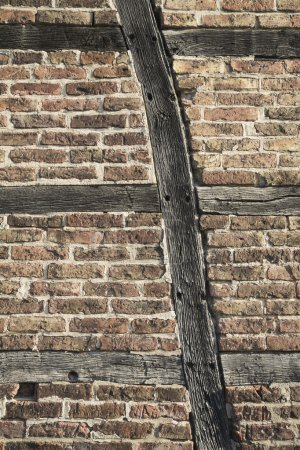 Photo for Germany, half-timbered house, wall with bricks and wooden beam - Royalty Free Image