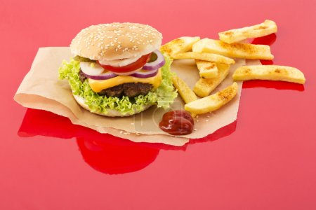 Photo for Homemade cheeseburger with french fries - Royalty Free Image