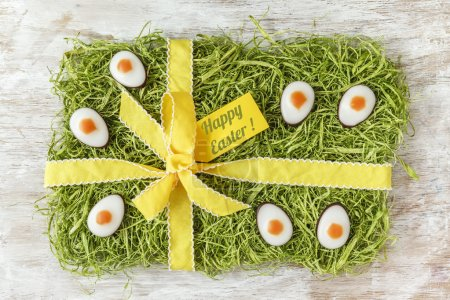 Easter artificial grass with fondant eggs