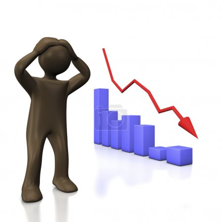 Falling chart with cartoon character
