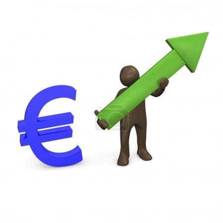 Euro sign and green arrow