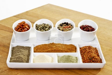 Different spices in bowls and plate