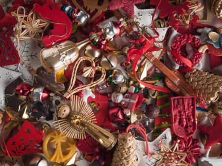 Colorful pile of christmas decorations