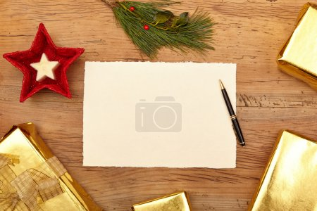 Christmas presents and blank card