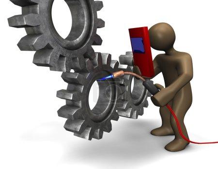Welding gears with cartoon character