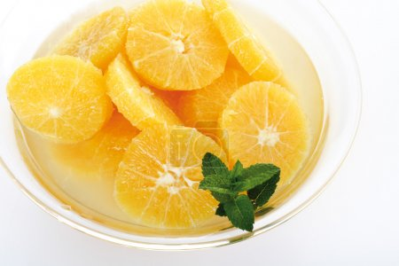 Slices of orange and meant leaves