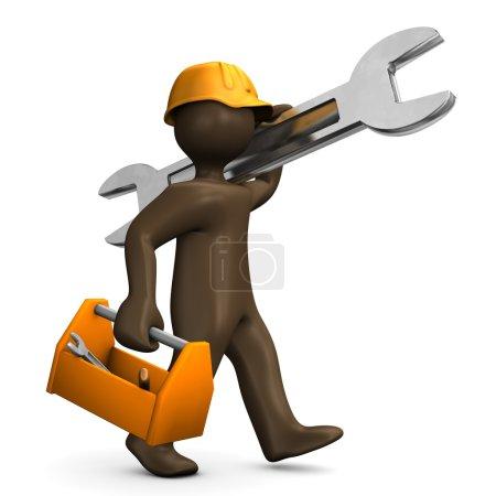 Brown manikin carrying wrench