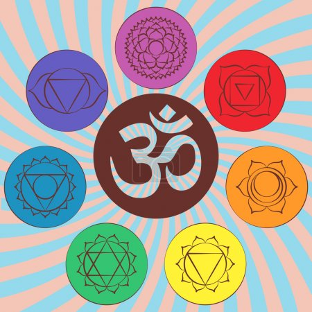 Chakra pictograms and symbol OM in the centre. Set of chakras used in Hinduism, Buddhism and Ayurveda. Elements for your design. Vector illustration
