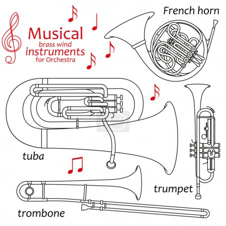 Set of line icons. Musical brass wind instruments for orchestra. Info graphic elements. Simple design. Good for coloring books. Vector illustration