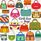 Set of line icon Different women bags and place for your text Colorful contour icons Info graphic elements Simple design Vector illustration eps 10