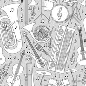 Musical seamless pattern made of different musical instruments treble clef and notes Black and white colors Set of line icons in music theme Good for coloring books Vector illustration