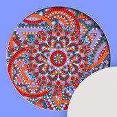 Round pattern with chakra manipura and text place Oriental ornaments for banners cards and for your design Buddhism decorative elements Red orange and blue colors Vector illustration
