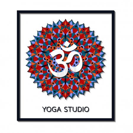 Yoga studio business template with chakra pictogram. Vector illustration.