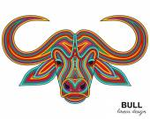 Creative stylized bull head in ethnic linear style Animal background Vector illustration