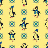 Penguins dressed in winter hats and scarves Especially when the snowflakes falling