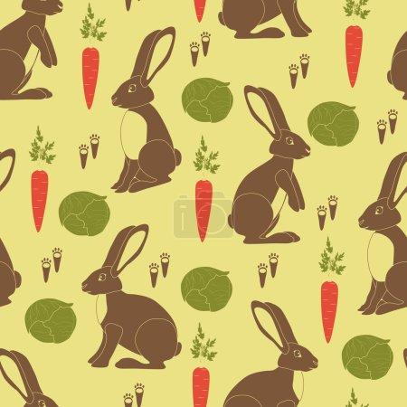 Illustration pour Lapins bruns, carottes orange, choux verts et petites empreintes - image libre de droit