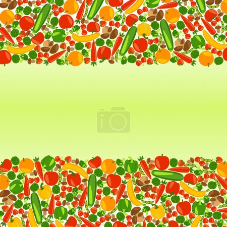 Vegetarian background with place for your text. Healthy lifestyle. Beautiful background with fruits, vegetables, berries and mushrooms. Vector color illustration.