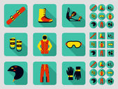 Snowbord and its equipment set Flat long shadow design Ski icons series