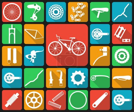 Set of flat icons of bicycle spare parts. Twenty seven icons, infographic elements. Flat long shadow design. Vector illustration